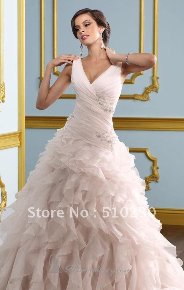 Free Shipping Ball Gown Champagne Taffeta Cap Sleeves Pink Wedding Gowns