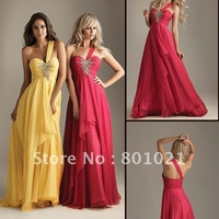 2012 free shipping ElyseMod NEW Arrival floor-length unique one shoulder beaded prom dress