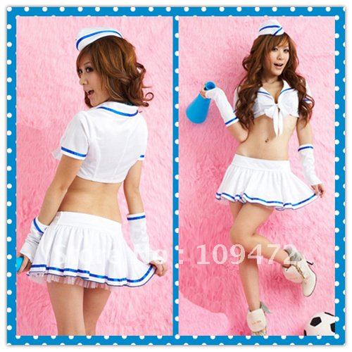 Wholesale Free Shipping Sexy Lingerie Underwear Cosplay Girl Dress Gentle Lover Soft Breeze Suits Airline Stewardess 8075 1Set(China (Mainland))