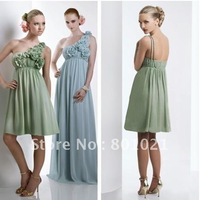 Bella ChiffonTea Length One Shoulder flower detail shirred bust 2012 Bridesmaid Dress