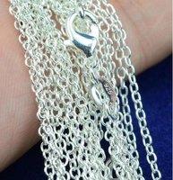 Wholesale-925 silver fashion Rolo chain necklace Link Chain  1MM 16 inch fit Pendant 100pcs/lot