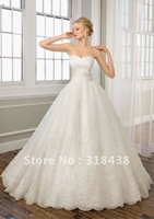 New Design CX-15 Elegant A-line Sweetheart Sleeveless Appliques White/Ivory Wedding Dress VESTIDO DE NOIVA