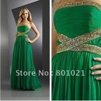 2012 Chiffon Strapless beading prom night glamorous entrance Glamorous Lime Green Prom Dress