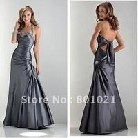 Sweet yet Cool Sweetheart Beaded Straps Taffeta Halter Straps Polyester Charcoal Grey Halter Prom Dress
