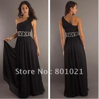 Free SHipping Empire Floor Length Sequin Waist Flower Shoulder Long One Shoulder 2012 Prom Eevning Dress
