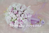 New arriveal beautiful small White+purple PE Flower Bouquet ,Bridal Bouquets for wedding