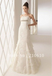 A-Line Strapless Ivory Romantic Applique Beading Lace Ruffles Pick up Wedding Gown#HS-1135(China (Mainland))