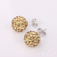 10mm 925 Silver Round crystal Ball Pave Beads Stud women Jewelry Rhinestone shamballa Earrings