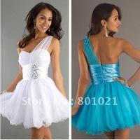 Hot Sale New Design Sequin Short  Empire Waistline One Shoulder white party dress
