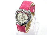 100PCS/lot EMS Free Shipping Newest Helclo Kitty watches Quartz watch  Wristwatch Fashion watch for women's watch ladies watch