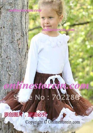 Free shipping BROWN WHITE Girls danceing wear skirt.toddler dance skirt tutus.children danceing short skirts(China (Mainland))