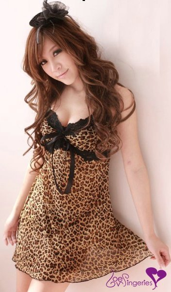 Sexy lace Chemises Baby dolls & Negligees black lace underwear one piece pajamas D110 in mesh, brown Leopard sleepwear(China (Mainland))