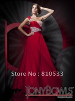 Custom 2012 Tony Bowls Red One-shoulder A-line Beaded Rhinestone Chiffon Floor length Prom Evening Dresses Party Formal Dress