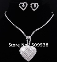 2012  Wedding Jewelry Earring & Necklace Set Peach Heart  Necklace For Bride