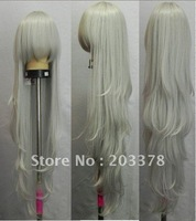 New Long wavy Silvery white Cosplay Curly Wig free shipping 10pcs/lot mix order