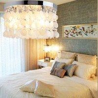 ceiling lights  NEW White Shell + Crystal Chandlier Flush Mount (Chrome Finish)