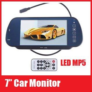 "Car Monitor 7"" Color TFT LCD Car Rearview Monitor SD USB MP5 FM Transmitter Free shipping(China (Mainland))"