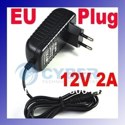 AC 100-240V to DC 12V 2A Power Adapter Supply Charger For LED Strips Light EU Plug Free Shipping(China (Mainland))