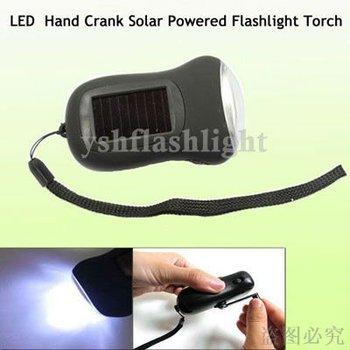 YM freeshipping!wholesale 10pcs/lot Hand Crank solar Dynamo light Solar Power LED Flashlight Torch Light Not need battery