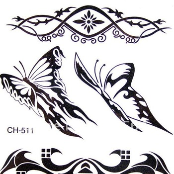 10 pieces in 1 lot Temporary Tattoos Black & White Design Authentic FREE SHIPPING JD0152 promotion hot sale