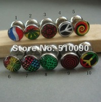 rasta punk stlye hiphop fashion popular girl and men Vintage  Stainless steel earrings