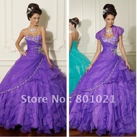 Incredible Sweetheart Appliques/Beaded Bodice Organza Lace up Purple  Ballgown Dress plus size formal Quinceanera Dresses