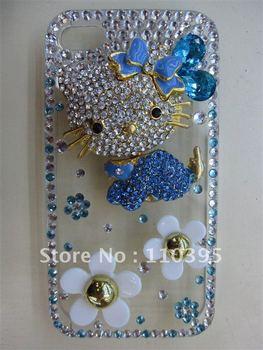 Free shipping wholesale china Fashion rabbit  luxury hello kitty cartoon crystal for iphone case(blue)