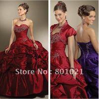Free Shipping Vintage Ballgwon Sweetheart Taffeta Appliques Wholesale Quinceanera Dresses