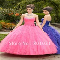 Hot selling Fashion Style  Girlish Ballgown Sweetheart Tulle Full Length Beaded Quinceanera dresses