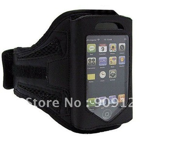 Black Adjustable Neoprene Armband Holder for iPhone 4 Velcro Strap Cosure Soft Plastic Screen Shield