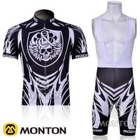 2012 ROCK RACING team black&white cycling jersey+short bib suit B027 Free Shipping