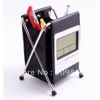 Free Shipping   Folding pen holder calendar clock, Leather pen holder calendar, Calendar debris rack, black 0.21kg  10pcs/lot