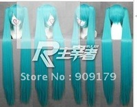 Free Shipping >>>T015-F 1.2m Vocaloid Hatsune Miku Cosplay Blue Ponytail Hair Wig