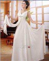 V collar  neckline Embroidered Wedding  DRESS bridesmaid DRESs/Evening dress free shipping