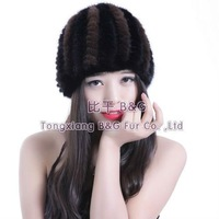 BG5692 Genuine Knitted Mink Fur Beanie Hot Sale Stripe Hat