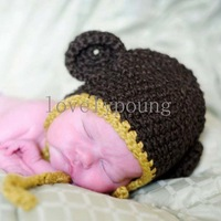 boys Monkey hat (dark brown color) , crochet hat ,100% cotton 30pcs/lot