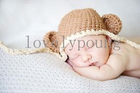 New arrive boys chocolate Monkey hat,baby boy crochet hat made of 100% cotton 30pcs/lot
