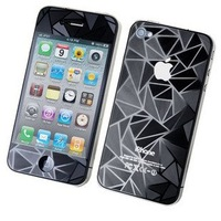 DHL Free - high quality 3D diamond  full body  front + back screen protector iphone 4 4G 4S with retail packae 100pcs/Lot