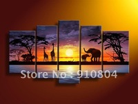 Framed 5 Panels Large Oil Painting on Canvas African Art Elephant Paintings Girraffe Decoration--A0041