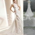 GD064 Free Shipping Real Sample White Lace Halter Neck Wedding Dresses 2012