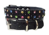 QHCR009, Free shipping, 2pcs per lot; wholesale and retail 2012 trendy cool crystal dog collars