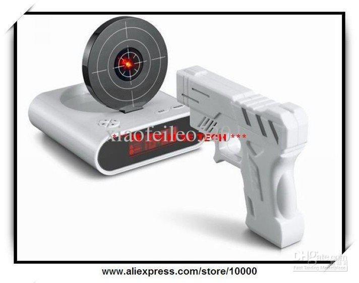 Gun o'clock, alarm clock with light target,essential condition with white collar sleepyhead,shooting(China (Mainland))