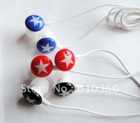 300pcs Colorful Star Stereo Earphone Crystal ablaze appearance in-ear design for pod and any other mp3 mp4 player Free Shipping