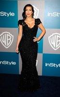 Custom Made Kim Kardashian Mermaid Trumpet V-Neck Cap Sleeve Lace Black Evening Dress Celebrity Dresses Free Shipping-11C