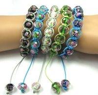 Браслет из бусин 12mm glass Beads and CZ Crystal Ball Elastic Bracelet, Elegant Lady Bracelet Jewelry