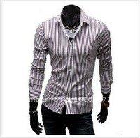 Free shipping New Stylish Mens Fashion Casual Slimfit Dress Shirts Collection Striped Shirt Free shipping