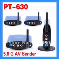 Hot-IR products!5.8Ghz Wireless AV Sender PT630 1pc Transmitter + 3pcs Receivers