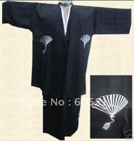 HOT SELL New Japanese kimono men&#39;s Silk Satin kimono robe gown Dress with Obi Yukata Haori black &quot;LGD B0002&quot;