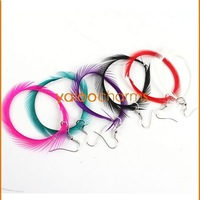 Wholesale- 24Pairs 2012 New fashion Mixed Colors Feather Earring Circle Drop Earrings Party earrings 260349