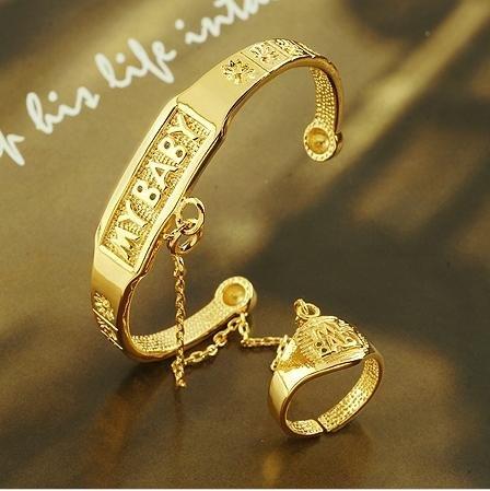Fashion Jewelry Bangle Baby 18k Yellow Gold Filled Twist Ring 2pc Bracelet